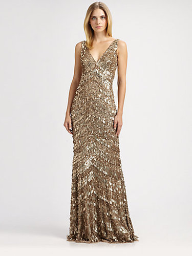 Theia Art Deco Fringed Gown