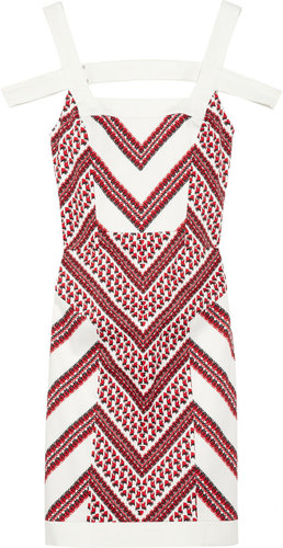 Thakoon Chevron-print cotton-sateen dress