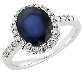 4 Carat Sapphire and Diamond Engagement Ring 14K White Gold