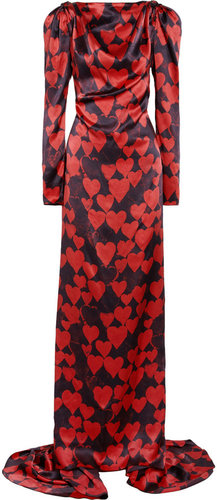Lanvin Heart-print silk-satin gown