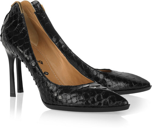 Lanvin Pointed python pumps