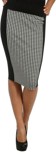 Blocked Houndstooth Pencil Skirt