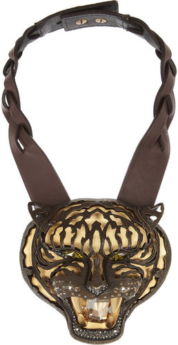 Lanvin Tiger crystal and leather necklace