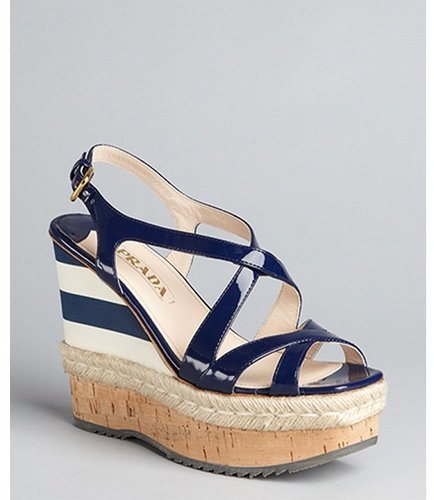Prada royal blue  patent leather striped wedge sandals