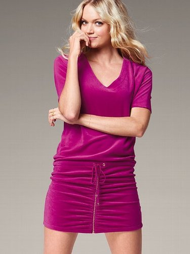 Velour V-neck Dress