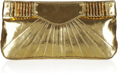 Rebecca Minkoff Collection Park Ave metallic cracked-leather clutch
