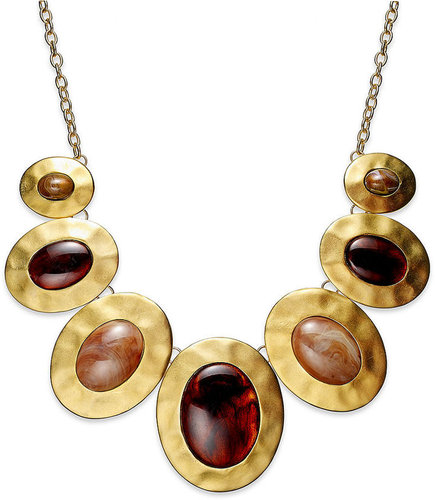 Style&co. Necklace, Gold Tone Hammered Pendant Statement Necklace