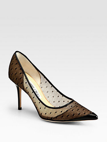 Jimmy Choo Begonia Polka-Dot Mesh Pumps