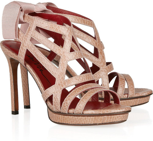 Lanvin Grosgrain-tie snake-embossed leather sandals