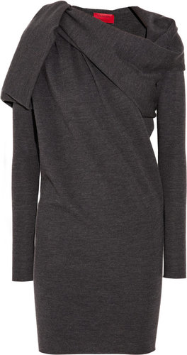 Lanvin Asymmetric draped wool-jersey dress