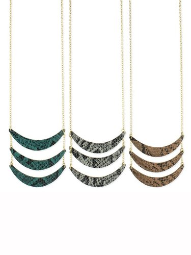 Z Designs Snakeskin Crescent Bib Necklace