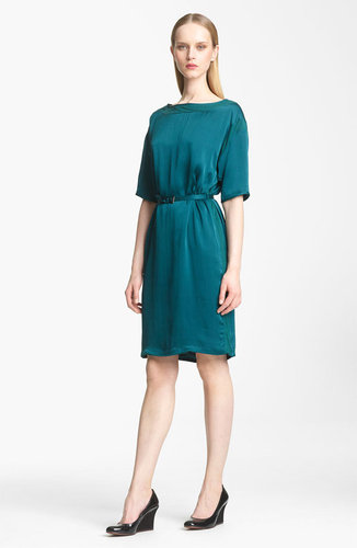 Lanvin Belted Washed Satin Dress