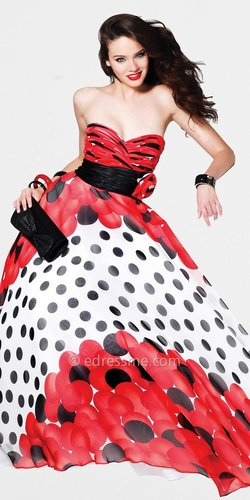 Red Polka Dot Ball Gown by Faviana