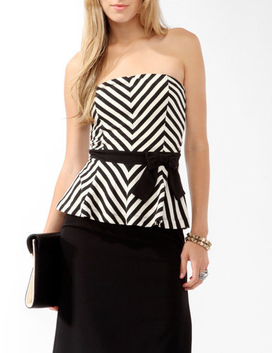 FOREVER 21 Chevron Striped Peplum Tube Top