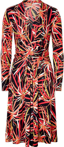 Issa Black Multicolor Leaf Print Silk Jersey Dress