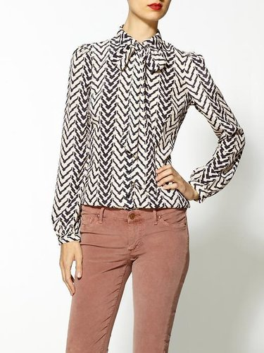 Ark & Co. Chevron Stripe Tie Front Blouse