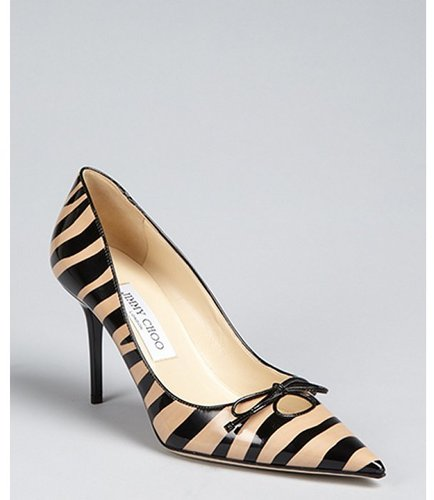 Jimmy Choo tan and black zebra stripe patent leather pointed toe heels