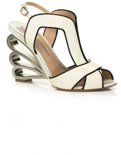 Nicholas Kirkwood Scalloped Sculpted Heel Sandal
