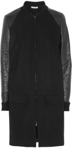 Preen Line Knife faux leather-sleeved wool-blend coat