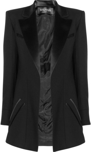 Balmain Satin-trimmed stretch-wool blazer