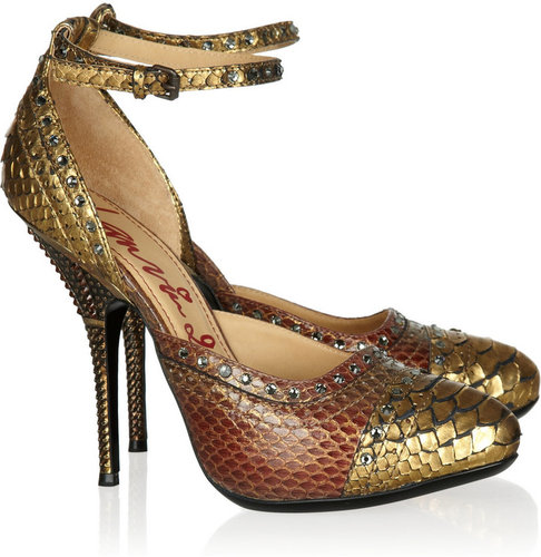 Lanvin Crystal-embellished python pumps