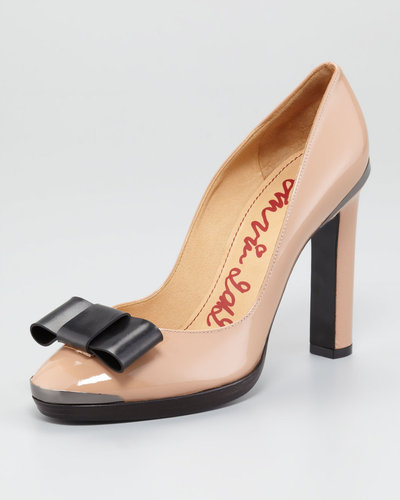 Lanvin Bow-Toe Patent Leather Pump