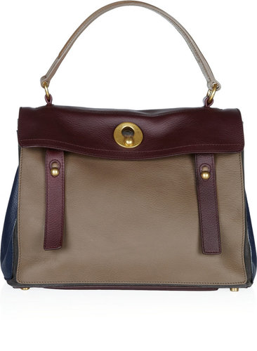 Yves Saint Laurent Muse Two color-blocked leather tote