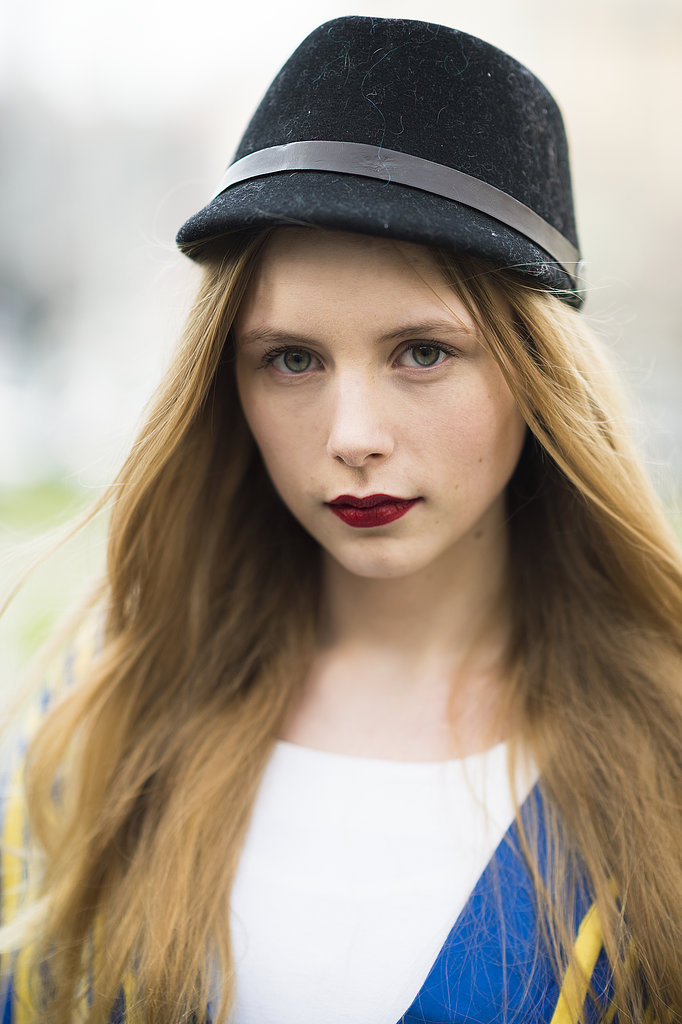 A cute chapeau and velvety lips were the perfect pairing on Marie Jensen. Source: Le 21ème | Adam Katz Sinding