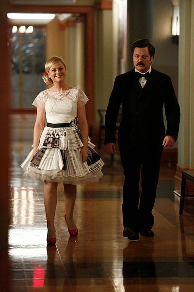 Amy Poehler and Nick Offerman on Parks and Recreation.