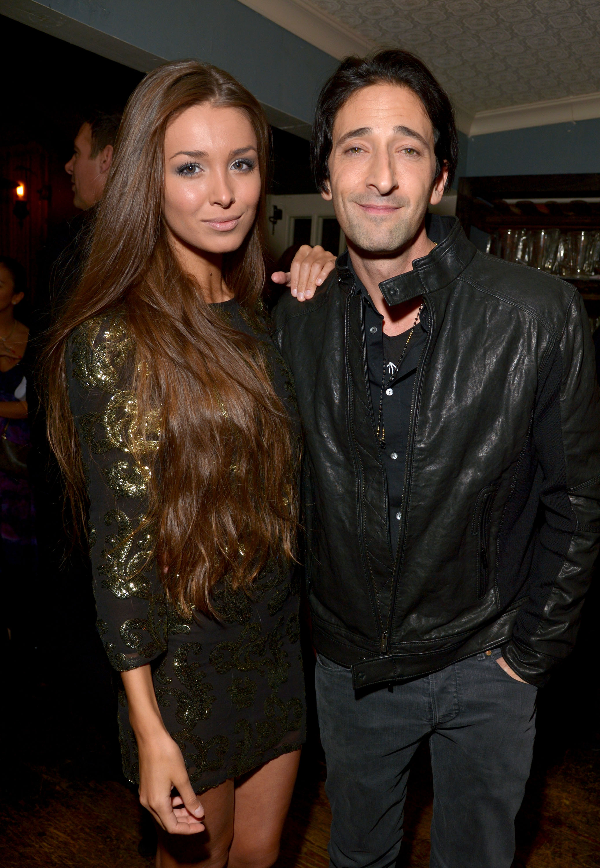 Adrien Brody arrived with Lara Lieto at the Les Misérables event in LA on Wednesday night.
