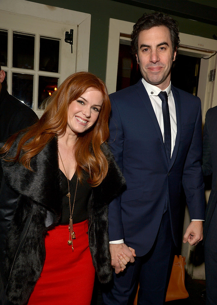 Isla Fisher and Sacha Baron Cohen arrived at the Les Misérables party.