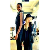 "Rachel Zoe felt ""vertically challenged"" while standing back-to-back with one of her Fall '13 models. Source: Instagram user rachelzoe"