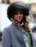 A fur hat provided a cozy and chic finish to this wintry look.