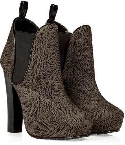 Proenza Schouler Olive and Black Platform Ankle Boots
