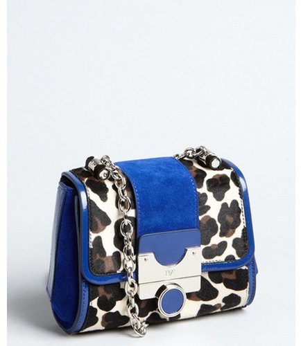 Diane Von Furstenberg leopard print calf hair and lapis suede 'Mini Keller' chain strap shoulder bag