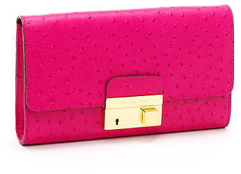Michael Kors  Gia Ostrich-Embossed Leather Clutch, Neon Pink