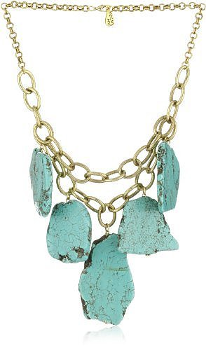 Yochi Turquoise Agate Stones on Strands of 14k Gold Plated Chain Necklace