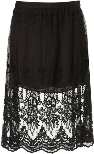 Black Embroidered Lace Skirt