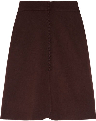 Valentino Button-down stretch-wool crepe skirt
