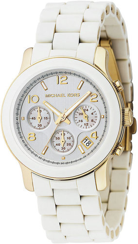 Michael Kors Watch, Women's Runway White Polyurethane and Gold-tone Mixed Metal Bracelet MK5145