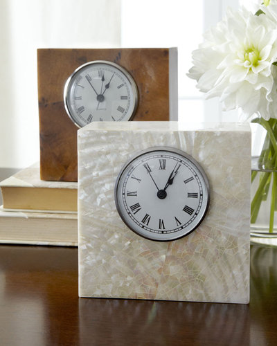 "5"" Square Shell Desk Clock"