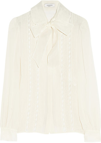 Valentino Lace-paneled silk-georgette blouse