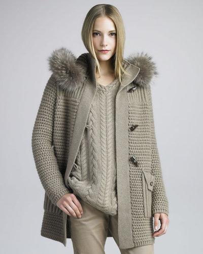 Loro Piana Fur-Trimmed Knit Coat, Desert Rose