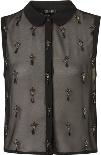 Sleeveless Embellished Shirt
