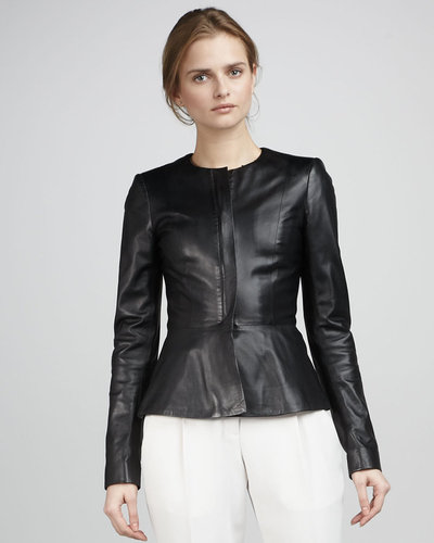 Theory Leather Peplum Jacket