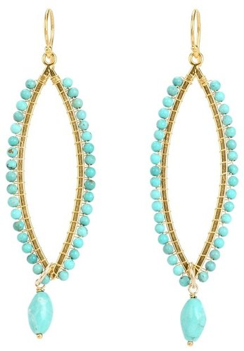 Chan Luu - Turquoise Tear Earrings with Turquoise Drop Bead