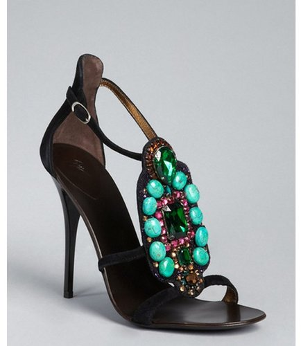 Giuseppe Zanotti black suede jewel embellished strappy sandals