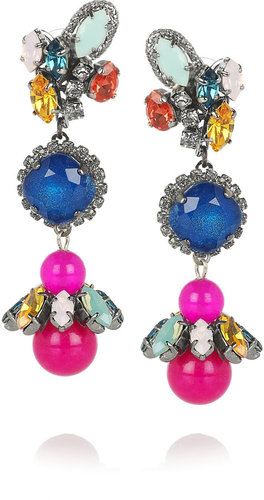 Erickson Beamon Rear Window gunmetal-plated Swarovski crystal earrings