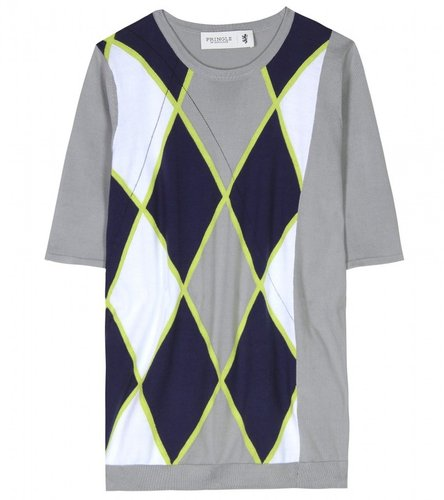 Pringle of Scotland ARGYLE SHORT SLEEVED KNIT PULLOVER
