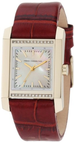 French Connection Women's FC1082GW Classic Square Gold Brown Watch